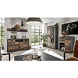 Wohnwand-Set mit Sideboard & Kommode im Industrial-Design in Old Mix Dekor mit Matera grau, inkl. LED, B/H/T ca.: 382/201/43 cm