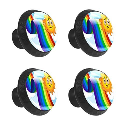 Tiradores de cajón tiradores de gabinete divertido de dibujos animados coloridos arco iris con triste sol Emotion cristal redondo puerta armario tirador con tornillos para cocina, hogar oficina 4 piezas