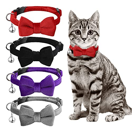 SIVEIS 4 Pack Cat Collar with Bell and Bow Tie, Quick Release Removable...