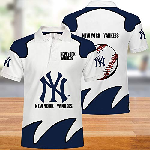 MLB New York Yankees Polo: Manga Corta Casual de Verano para Hombres, Camiseta de Juego de béisbol Neutral Impresa en 3D, Tops adecuados para Hombres y Mujeres
