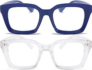 2 Pack Retro Oversized Reading Glasses Women Blue Light Blocking Computer Reader