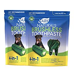FORMULATED FOR LARGE BREED DOGS: Our Vet recommended dental chew is specifically formulated for large breed puppies and adult dogs that are 40+ pounds.  4-in-1 DENTAL CARE SOLUTION: Designed to substitute the use of a toothbrush, the Brushless Toothp...