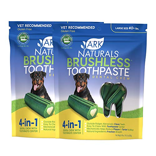Ark Naturals Brushless Toothpaste, Large Breed Dog Dental Chews Bundle Pack, Vet Recommended, 2 Pack