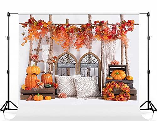 Kate 8×8ft Thanksgiving Photo Backdrop Pumpkin Maple Leaves and Trunk Background Orange Bohemia Boho Tassel Pillow Studio Props for Photographer