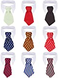 9 Pieces Pet Dog Formal Neck Tie Puppy Twill Cotton Ties Adjustable Cat Business Tie Dog Tuxedo Ties Collars for Small Pets Dog Cat Birthday Party Costumes Photo Prop (Small)