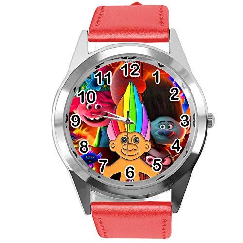 Reloj redondo de cuero rojo para fans enanos
