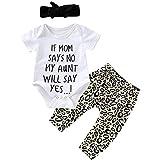 Conjunto de ropa para niñas de 0 a 24 meses, conjunto de ropa de bebé de manga corta con estampado de carta y pantalones de leopardo+diadema, blanco, 18-24 meses