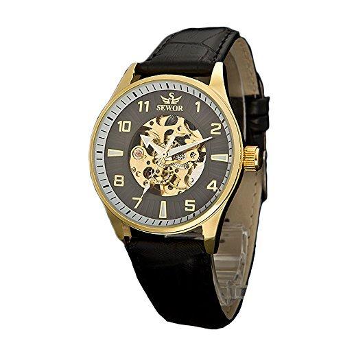 Sewor Lover's Automatik mechanische Leder-Armbanduhr für Damen (White) (Gold-Black)