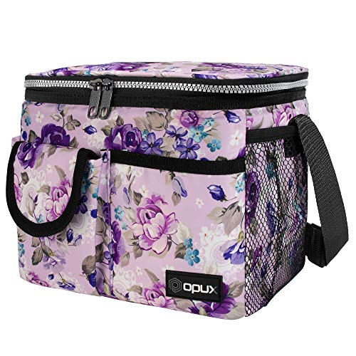 OPUX Insulated Lunch Bag, Durable Lunch Box for Adult Female Women   Medium Leakproof Cooler Tote for Work School   Lunch Pail with Shoulder Strap Pocket for Kid Girl Lady   Fits 8 Cans, Purple Floral
