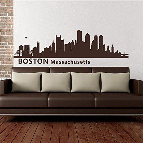 Boston Massachusetts Skyline calcomanía de pared de vinilo adhesivo de hasta 100 pulgadas para sala de estar, oficina, decoración de ciudad muchos colores y tamaños (14 pulgadas x 46 pulgadas, color personalizado)