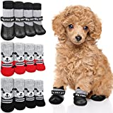 12 Pieces Dog Socks Non-Slip Pet Knit Socks and Dog Paw Protector Set Waterproof Pet Socks with Straps Rubber Sole Gripper Outdoor Dog Sock Boot for Hardwood Floor Small Medium Dog Cat (Medium, Black)