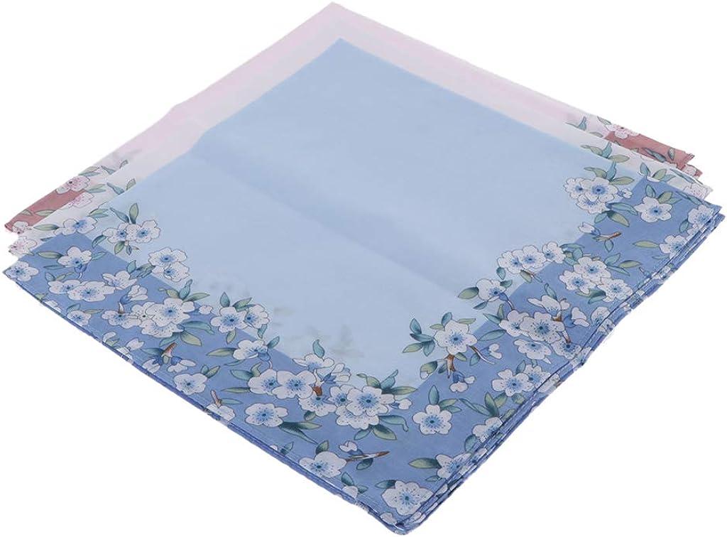 dailymall 3pc Handkerchiefs Charms Girls Flower Hanky Comfy Kerchiefs Party Hankie
