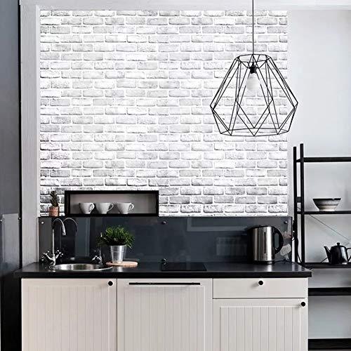 Yancorp White Gray Brick Wallpaper Grey Self-Adhesive Paper Home Decoration Peel and Stick Backsplash Wall Panel Door Christmas Decor (18'x120')