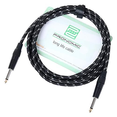 Pronomic Stage INST-3T Instrumentenkabel 3m (6,3 mm Klinke, Textilmantel, Gitarrenkabel, vergoldete Steckerspitzen, Spannzangen-Zugentlastung) schwarz/weiß