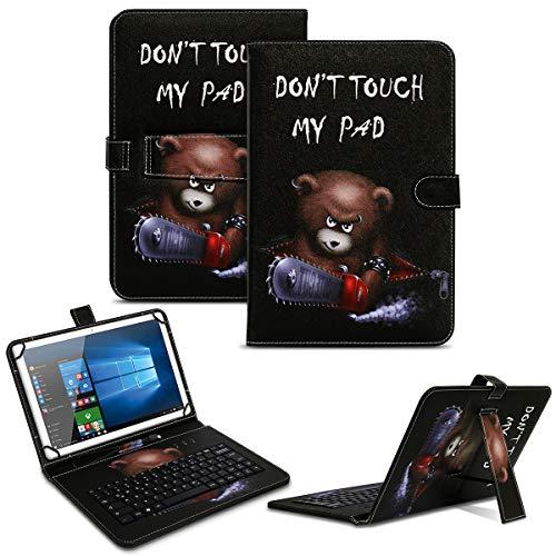 NAUC Tablet Tasche kompatibel für Jay-Tech G10.10 Keyboard USB Hülle Tastatur QWERTZ Tastatur Schutzhülle Standfunktion Magnetverschluss Cover Universal, Farben:Motiv 1
