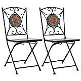 2 Sedie da esterno in metallo verniciato con mosaico
