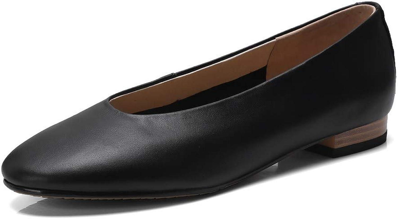 Nine Seven Genuine Leather Women's Round Toe Flat Heel Slip On Handmade Comfort Business Pumps