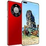 WSHA Teléfonos celulares 3G desbloqueados, teléfono móvil con teléfono Inteligente Desbloqueado de 6.3 Pulgadas, 12GB + 512GB, batería de Larga duración de 5600mAh con Cargador, Auricular,Rojo