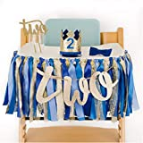 PapaKit Baby Boy Royal Prince 2nd Birthday High Chair Premium Decoration Set (Crown Hat, Bow Tie, Cake Topper, Banner, Garland)