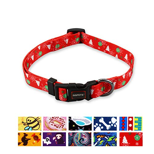 QQPETS Dog Collar Personalized Soft Comfortable Adjustable Collars for Small Medium Large Dogs Outdoor Training Walking Running (L, Red)