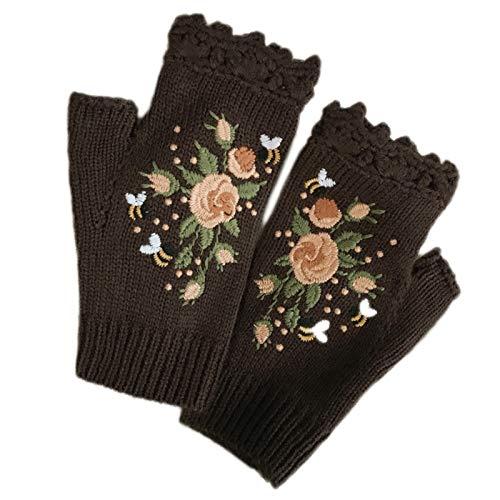 Guantes de invierno cálidos sin dedos para mujer con bordado étnico de abeja floral dulce con agujero para el pulgar, guantes de punto