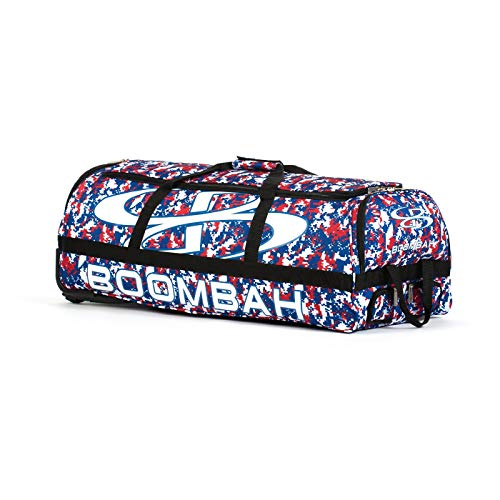 "Boombah Brute Camo Rolling Baseball/Softball Bat Bag - 35"" x 15"" x 12-1/2"" - Royal Blue/Red - Holds 4 Bats and Room for Gear - Wheeled Bag"