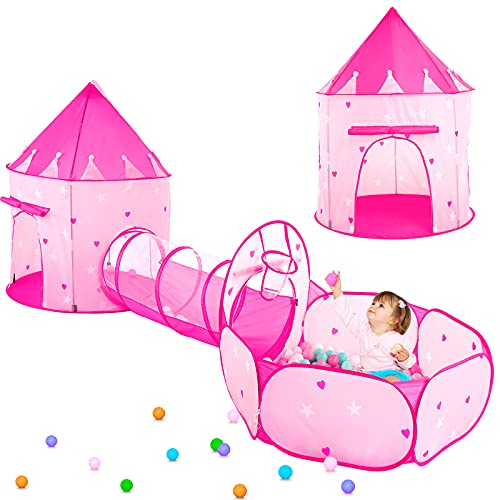3pc Kids Play Tent for Girls with Ball Pit, Crawl Tunnel, Princess Tents for Toddlers, Baby Space World Playhouse Toys, Boys Indoor& Outdoor Play House, Perfect Kid's Gifts (3PC Pink Star Play Tent)