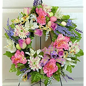 Easter Cemetery Wreath with Roses, Easter Grave Wreath with Easter Eggs