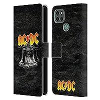 Head Case Designs オフィシャル ライセンス商品 AC/DC ACDC ヘル・ベル ソング・タイトル Motorola Moto G9 Power 専用レザーブックウォレット カバーケース