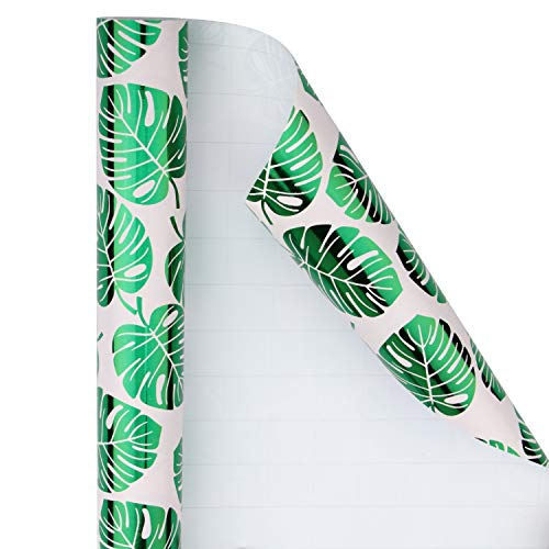 WRAPAHOLIC Wrapping Paper Roll - Pink and Green Foil Tropical Palm Leaves for Wedding, Birthday, Holiday, Baby Shower Wrap - 30 inch x 16.5 feet