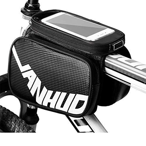 WJH9 Cuadro de la Bicicleta Bolsa de Senderismo, 3 en 1 multifunción Carretera Bolso de la Bicicleta con el Auricular del Agujero para el iPhone Bolsa de Herramientas a Prueba de Agua Bolsa,Negro
