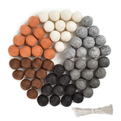 Luckforest 60 Pcs Natural Wool Felt Balls Pom Poms in Neutral Earth Tones for Crafts, Garland, Felting, Baby Mobile and Decor 0.8 Inch Hand Felted in Nepal from 100% NZ Wool