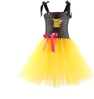 Pichaku Costume Girls Pekachu Outfit Kids Pikeachu Dress Child Pickachu Outfit Girl Halloween Tutu Dress
