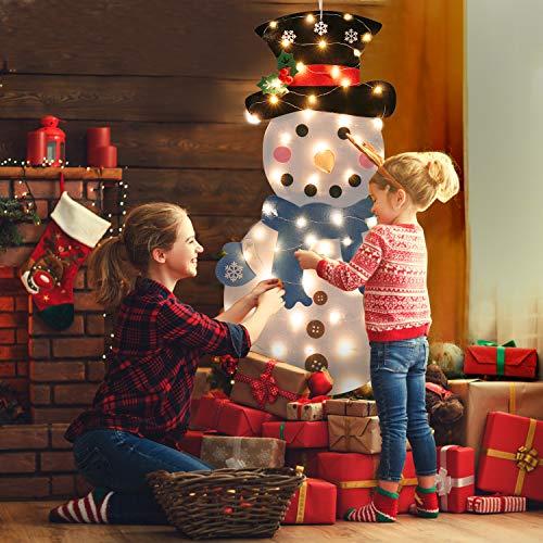 FunPa Felt Christmas Tree Set Decorazione della Parete Porta Fai da Te Decorazione di Natale con Ornamenti (Snowman)
