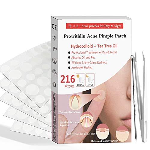 Parche para el acné 2 en 1-216 piezas Parche para espinillas de acné absorbente de hidrocoloide | Parche curativo invisible para el tratamiento del acné impermeable y transpirable para la espinilla
