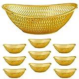 "Large Plastic Gold Bread Baskets - 10pk. Reusable 12"" Oval Food Storage Basket - Elegant Modern Décor for Kitchen, Restaurant, Centerpiece Display - by Impressive Creations"