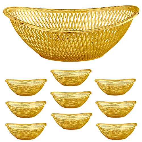 "Large Plastic Gold Bread Baskets - 10pk. Reusable 12"" Oval Food Storage Basket - Elegant Modern Décor for Kitchen, Restaurant, Centerpiece Display - by Impressive Creations"