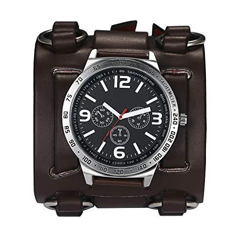Avaner Herren Armbanduhr Analog Quarzwerk Modische Herrenuhr mit breitem Leder Armband für Männer Sport Wasserdicht mit Tachymeter Zusatzfunktion AN018-08 (Braun)