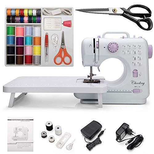 Chooling Sewing Machine (Dressmaking Scissors, Extension Stand & Sewing Supplies Set Included) - Small Household Electric Overlock Sewing Machines CL-033-G
