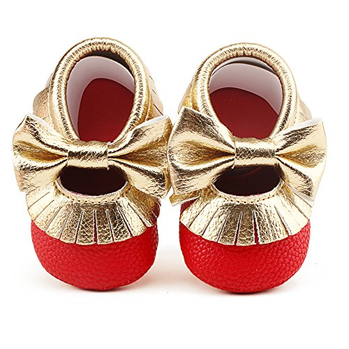 Delebao Infant Toddler Baby Soft Sole Tassel Bowknot Moccasinss Crib Shoes (6-12 Months, Red &Gold)