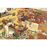 子供と大人のためのジグソーパズルゲーム - 非常に良い教育的なゲーム - 漫画の木製ジグソーパズル千個 - 女の子とウサギ平面パズル - 最高の誕生日プレゼントとホリデーギフト