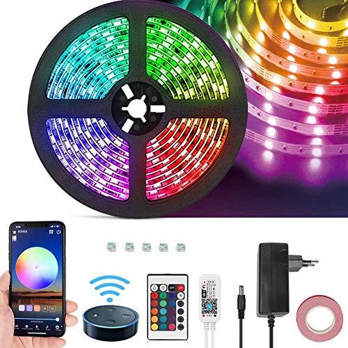 Opard Alexa Led Strip 5m Lichtband, IR Fernbedienung Wifi Wireless Smart Phone Gesteuert LED Streifen SMD 5050 RGB IP65 Wasserdichtes mit Alexa, Google Home, IFTTT, WiFi-Echo 150led Netzteil