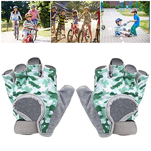 BOLORAMO Kids Half Finger Cycling, Kids Bike Flexible and Convenient for Children (Green)(XS code)
