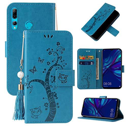 Miagon Brieftasche Flip Hülle für Huawei Y6 2019,Schön Schmetterling Baum Katze Design PU Leder Buch Stil Stand Funktion Handyhülle Case Cover,Blau