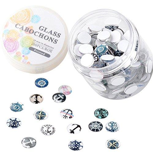 Pandahall Glas-Cabochons, Halbrund/Kuppel, 1 Box mit 200 Stück, Helm & Anker, 10 mm
