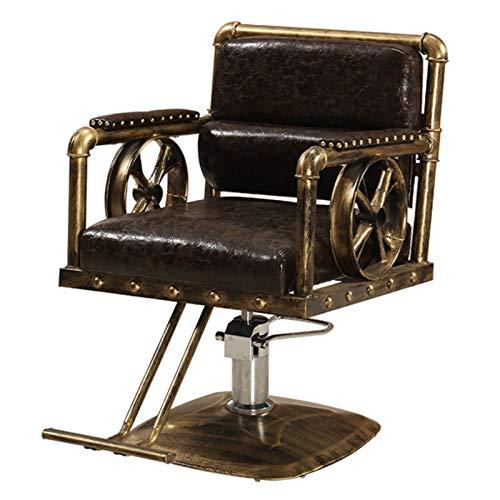 Sillón Vintage Profesional de Peluquería Barbero Tattoo, 360º Giratoria, Sillón Ajustable Altura Regulable, Salón de Belleza, SPA,E