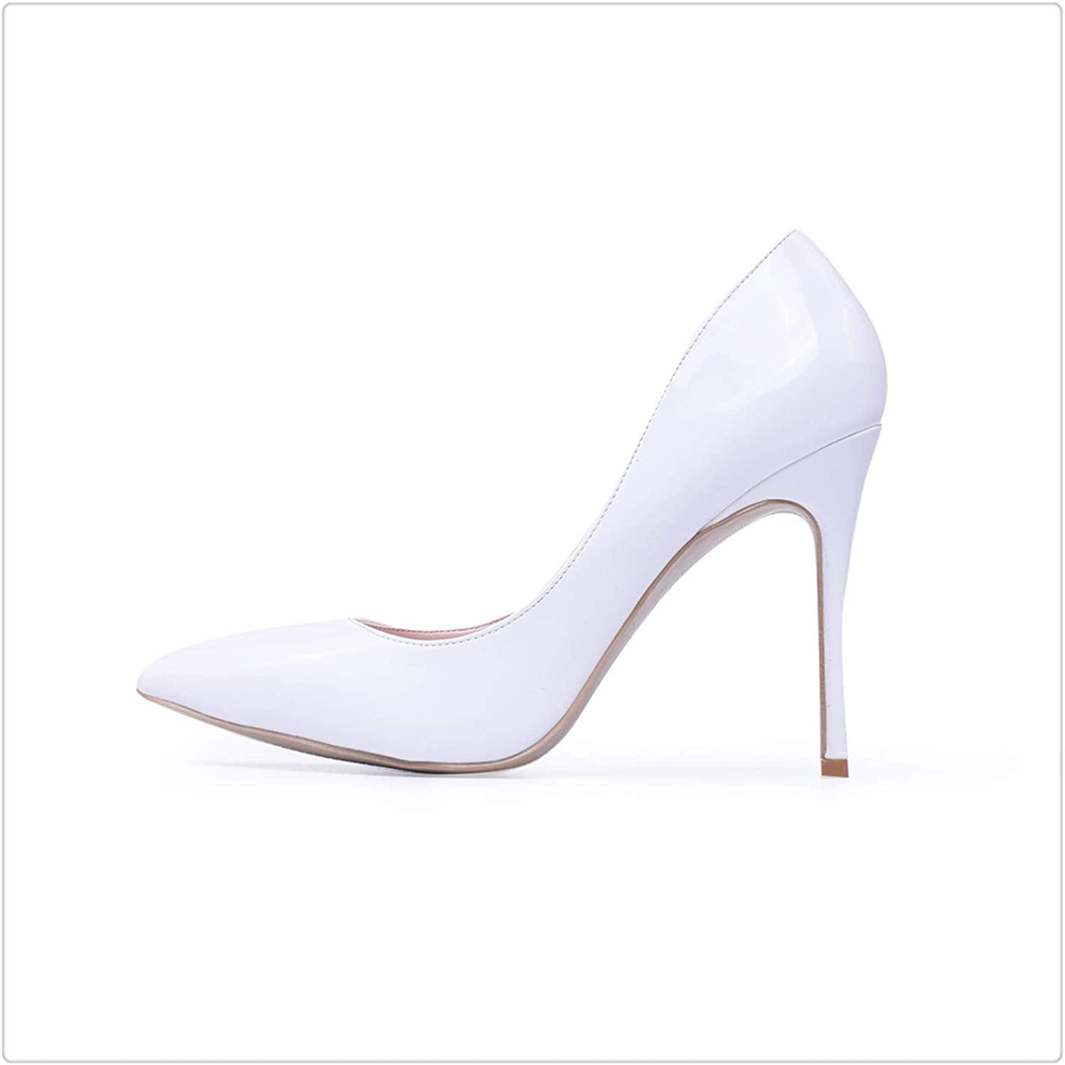 ZXCVB& Women Pumps High Heels shoes 10cm White shoes for Wedding Lacquer Stiletto Heels High Heeled shoes for Prom Party Heel Big Size White 10cm 9