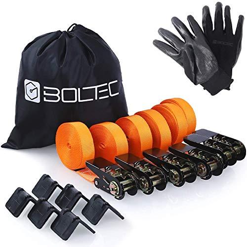 BOLTEC Spanngurte mit Ratsche (Set: 6 Stück mit Handschuhen) - robuste Zurrgurte (nach EN 12195-2 mit GS & TÜV) - 6m Länge & bis zu 1600kg Traglast