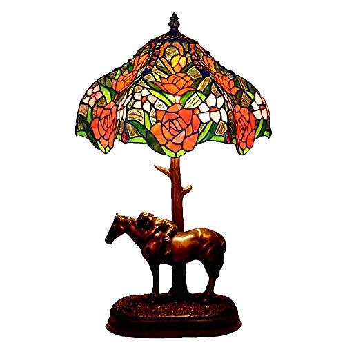 JMFHCD Tiffany Schreibtischlampe Retro 12 Zoll Glasmalerei Tischlampe Antiker Sechsseitiges Rosa Pony Nachttischlampe Mit Harzbasis, für Wohnzimmer Schlafzimmer Couchtisch Nachtlicht