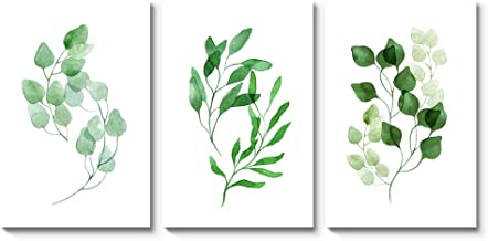 Elegant Canvas Prints Wall Art Abstract Green Leaves Floral Pictures Paintings for Living Room Bedroom Home Decorations 3 Piece Modern Stretched (Green 1, 16x24inchx3)